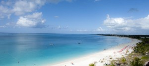 Turquoise sea and white beach, Grace Bay, Providenciales,Turks a